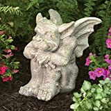 Bits and Pieces - Tristan The Gargoyle - Sitting Garden Statue - Cast Weather Resistant Resin Sculpture Measures 8-1/4' x 6-1/2' x 7-1/4'