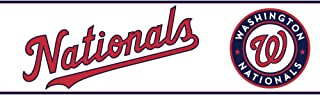York Wallcoverings ZB3361BDSMP Boys Will Be Boys II Washington Nationals 8-Inch x 10-Inch Memo Sample Wallpaper-Borders, Chalky Ivory/Scarlet Red