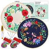 Pllieay - Juego de 2 juegos de bordado para principiantes, incluye 2 ropa de bordado con patrón floral, 2 aros de bambú para bordar, hilos de colores y herramientas