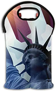 YYH Wine Tote Carrier Bag Statue of Liberty American Flag Purse for Champagne,Water Bottles