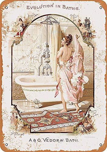 Hunnry Vedora Baths Poster Póster De Pared Metal Vintage Placa Cartel Decorativas Estaño Signo Vendimia Plaque por Bar Café Hogar Restaurante Dormitorio