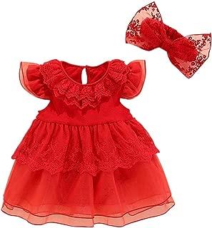 RONSHIN 2 pcs/Set Kids Girls Mesh Stitching Lace Tutu Princess Dress+Bowknot Headband Red TH-18807 Cake Skirt 60 (3-6 Months)