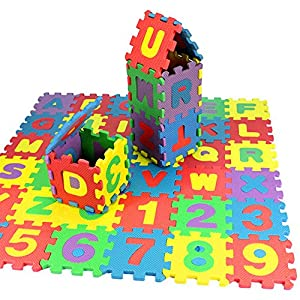 Kids Puzzle Exercise Play Mat, 36 pcs Baby EVA Foam Games Mat, Toddler Alphabet Number Crawling Mat, Interlocking Floor Tiles, Infant Indoor Activity Center for Tummy Time (Multicolor)