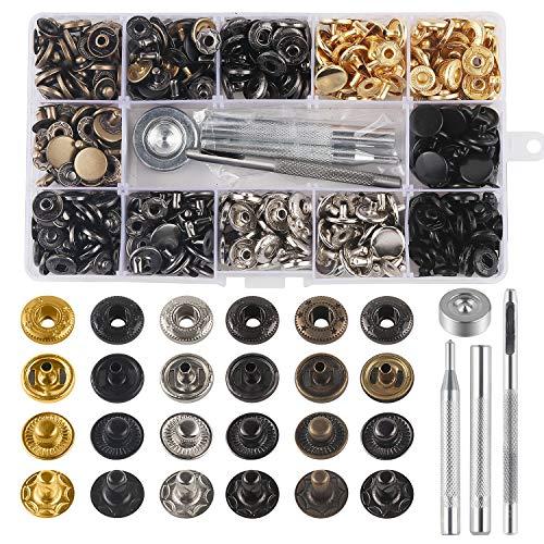 132 Cierres a Presión de Botones de Metal con Herramientas de Fijación, para Ropa, Cuero, Manualidades, Pulseras, Pantalones Vaqueros, Chaquetas, Bolsas y Cinturón