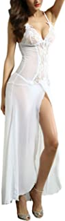 See Through Mesh and Lace Deep V Neck Sleepwear Gown Maxi Long Dress