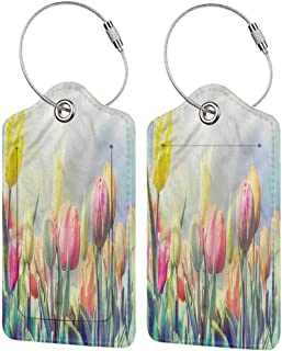Leather Luggage Tag, Suitcase Tag Set, Unisex Pastel Tulips Flower Bed Park (1,2 & 4 Pack)