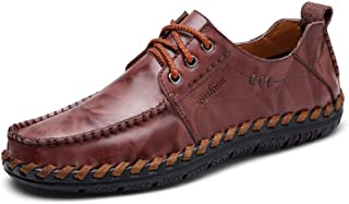 S.Y.M Men Shoes Oxford Shoes For Men Lace Up Style OX Leather Hand-stitched Casual Round Toe(Slip On Optional)