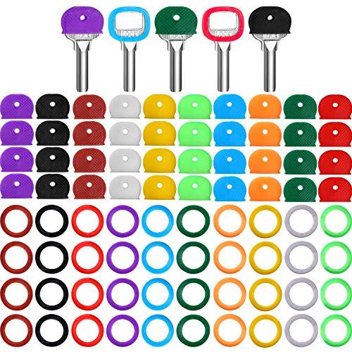80 Piezas Llave Tapas Etiquetas Cubiertas Set Plástico Anillos Identificadores de Llaves Toppers de Llaves para Llaves Organización de Llaves de Casa, 10 Colores, 2 Estilos