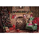 Fondos de Navidad para Fiestas Familiares Árbol de Nieve de Invierno Papá Noel Piso de Madera Fondos para niños Photocall para Estudio fotográfico A7 7x5ft / 2.1x1.5m