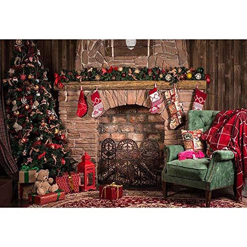 Fondos de Navidad para Fiestas Familiares Árbol de Nieve de Invierno Papá Noel Piso de Madera Fondos para niños Photocall para Estudio fotográfico A7 9x6ft / 2.7x1.8m