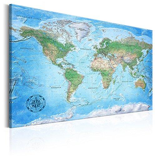 decomonkey 120x80 cm Politische Weltkarte Deutsch Pinnwand Leinwand Bilder Wand Bilder Landkarte Welt Kontinente Reise Geographie