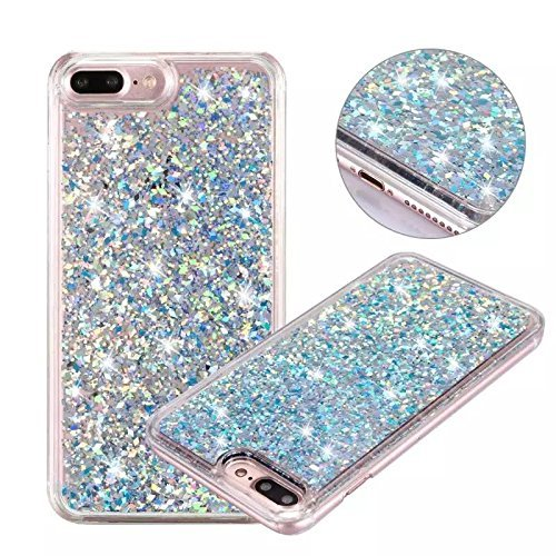 iPhone 7 Plus Glitter Case, NOKEA Rubber Flowing Liquid Floating Luxury Bling Glitter Sparkle Flexible Protective Shell Bumper Case Cover for iPhone 7 Plus 5.5inch (Silver#3)