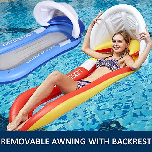 K99 Cama Flotante en la Sombra, Nadar Tubo Bagel Salón Inflable Flotante Cama de la natación para Adultos Anillo del Amortiguador de Aire del Amortiguador Piscina Piscina Aire Balsa,Rojo