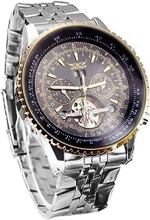 ساعة يد ميكانيكية أوتوماتيكي مع شاشة تناظرية بحزام من الفولاذ المقاوم للصدأ بتصميم فاخر عجلة توازن ذهبي وأسود