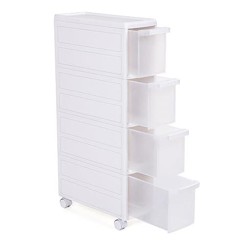 SONGMICS Meuble de Rangement sur roulettes Étagère d'appoint 4 étages Plastique PP Blanc Dimensions 18 x 46 x 84,5 cm (Largeur x Profondeur x Hauteur) KFR05W