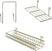 FRIADE Gold Grid Basket with Hooks,Bookshelf,Display Shelf for Wall Grid Panel,Wall Mount Organizer and Storage Shelf Rack...