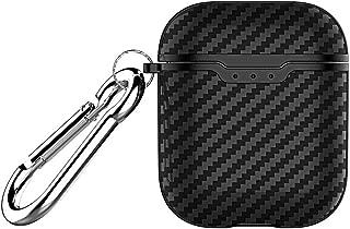 Bluetooth Earphones & Headphones,pgmrw23h Carbon Fiber Dust-proof Protective Cover Case for AirPods 1/2 Bluetooth Earphone - Black for AirPods 1