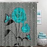 TAMOC Duschvorhang, Blaugrün, Rosen, mit 12 Haken, türkisfarbene Rosen, Duschvorhänge für Badezimmer, wasserdicht, Regentropfen, grüne Blume, 182,9 x 182,9 cm