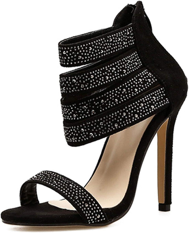 HuangKang 2019 New Summer Women Sandals Cut-Out Peep Toe Dress shoes for Women Sexy Zipper Crystal shoes