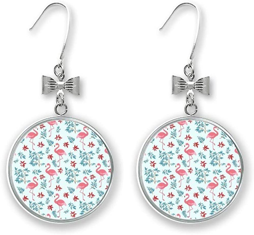 Flamingo Pattern Tropical Plants Max 77% OFF Bow Sale item Earrings Stud Pierced Drop