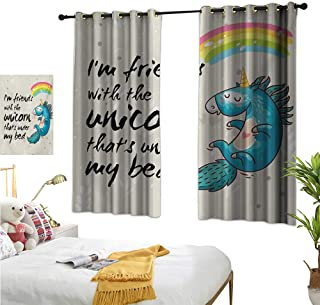 """RuppertTextile Customized Curtains Unicorn Dreaming with Rainbow Magical Myst Epic Creature Pony Grace Artwork 55"""" Wx45 L, Darkening and Thermal Insulating"""