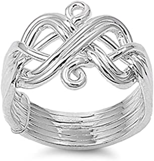 Prime Jewelry Collection Sterling Silver Women's Difficult Weave Knot Puzzle Ring (Sizes 6-12)