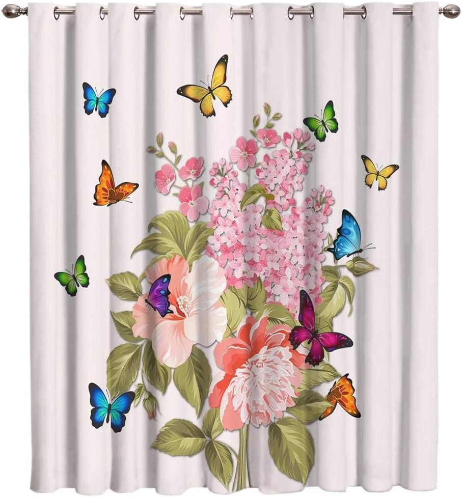 Gifts Zzmdmn Pink Flower Illustration Butterfly Room Curtains Outlet SALE D Window