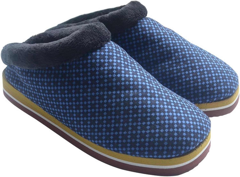 JOXJOZ Handmade Unisex Cotton Fleece Lined Clog Slippers Antiskid Indoor Slippers Household Warm shoes Darkbluee