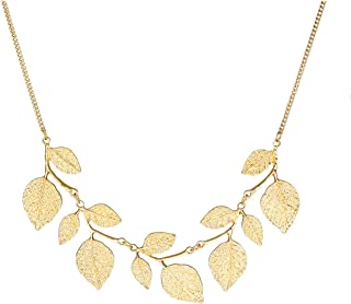 Bohemian Glitter Leaf Collar Necklace for Women Girls Plant Hammered Necklace Chunky Tree Life Choker Necklace Vintage Bib Necklace