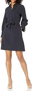 Marca Amazon - Lark & Ro Stretch Twill Fit and Flare Tie Waist Shirt Dress Mujer