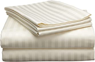 Reliable Trends 300 TC Plain Stripe Cotton King Size Elastic Fitted Bedsheet(230x250cm, Ivory)