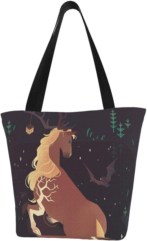 Staghorn Horse Bat Night Cute Art Themed Printed Women Canvas Handbag Zipper Shoulder Bag Work Booksbag Tote Purse Leisure Hobo Bag For Shopping