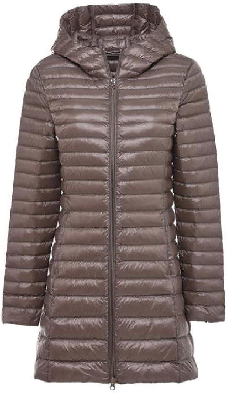 Abetteric Womens Hooded Zipper Comfy Outwear Puffer Midlong Down Coat