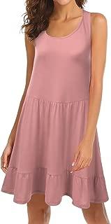 Doublju Womens Loose Fit Sleeveless Ruffle Hem Dress with Plus Size (Made in USA)