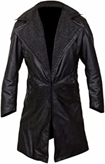 Feather Skin Mens Clothing Blade Runner 2049 Ryan Gosling Stonewashed Genuine Leather Coat Faux Fur Lining Open Front- L Black