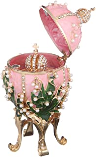 danila-souvenirs Russian Faberge Style Egg/Trinket Jewel Box with Russian Emperor's Crown & Flowers Pink 4.7''