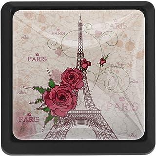Roses Paris Eiffel - Tiradores de cristal para armarios con tornillos para el pecho cajón aparador armario 3 unidades