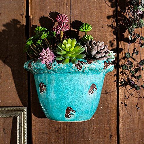 Sungmor Ice-Crack Geglazuurde Keramische Plant Potten, Hoge kwaliteit Multi-kleur Opknoping Planter, Muur & Hek Decor Bloempotten Size:26cmL*12.5cmW*20.5cmH Blauw