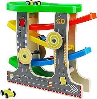 5318b3f5dd52a4 Nuheby Pista in Legno per Macchinine con 4 Auto da Corsa 4 Rampa Giocattolo  Bambini Pista
