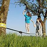 Gibbon Slacklines Fun Line mit Treewear, Blau, 15 Meter (12,5m Band + 2,5m Ratschenband), inklusive Ratschenschutz und Baumschutz, Breite 2″/5cm Slackline-Set, Komplettset 12,5 m Webbing + 2,5 m - 7