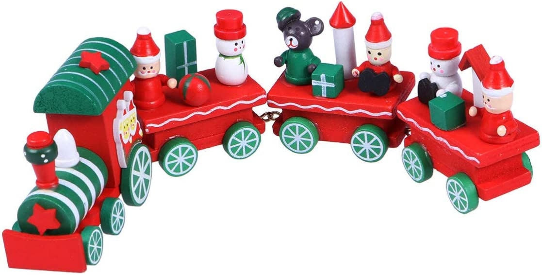 EXCEART New product Ranking TOP20 type 4Pieces Christmas Train Funny Mini Toy Xmas Wooden