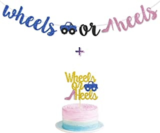 Wheels or Heels Gender Reveal Banner Glitter Pre-Strung for Boy or Girl Blue or Pink Baby Shower Gender Reveal Party Ideas