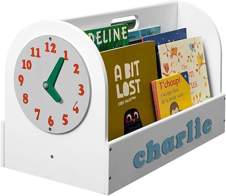 Libreria portatile (età 3-10), personalizzabile, portalibri, montessoriana, orologio giocattolo tidy books® B08DL15P93