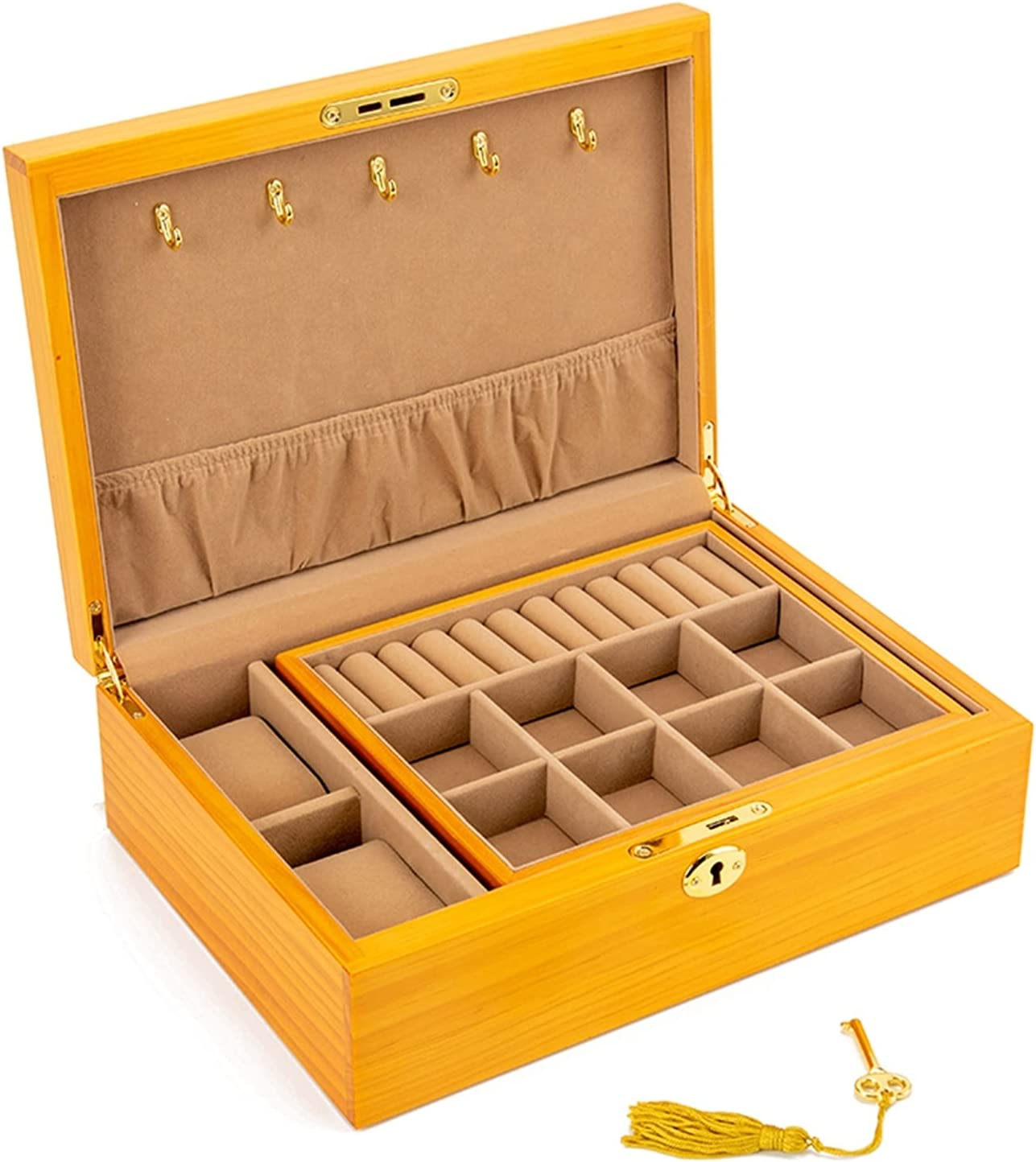 QAZX Caja de Joyas Vintage Madera Sólido Joyería Caja De Almacenamiento Collar Antiguo Pendientes Reloj De Joyería Organizador (Color : Orange yellow1)