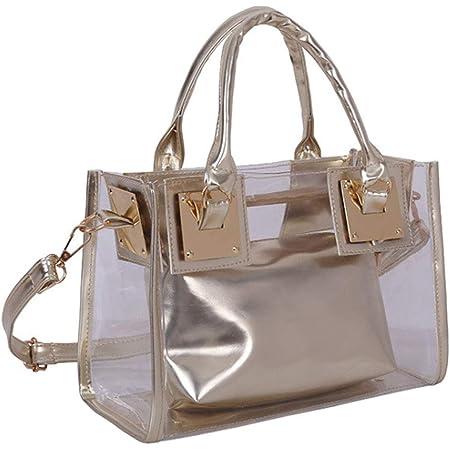Rullar Damen 2 Stücke Kleine Klare Schultertasche Taschenset Umhängetasche PVC Transparent Shopper Handtasche Clutch Tasche Gold