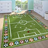 Paco Home Kinderteppich Kinderzimmer Spielteppich Kurzflor Spielfeld Fußball In Grün, Grösse:160x220 cm