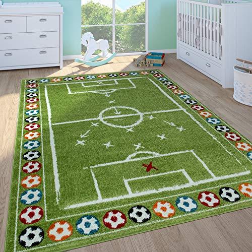 Paco Home Tapis Enfant Garçon Chambre Enfant Tapis Jeux Poils Ras Terrain De Foot Vert, Dimension:160x220 cm