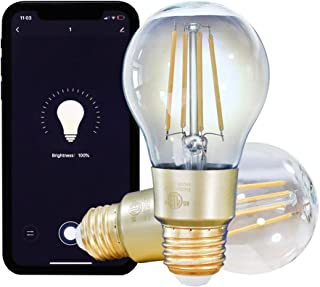 Smart WiFi LED Bulb SPIGHTDEX Vintage Edison Light Bulb Glass Dimmable Compatible with Amazon Alexa, Google Assistant, E26 A19 Filament Light Bulb,2 Pack