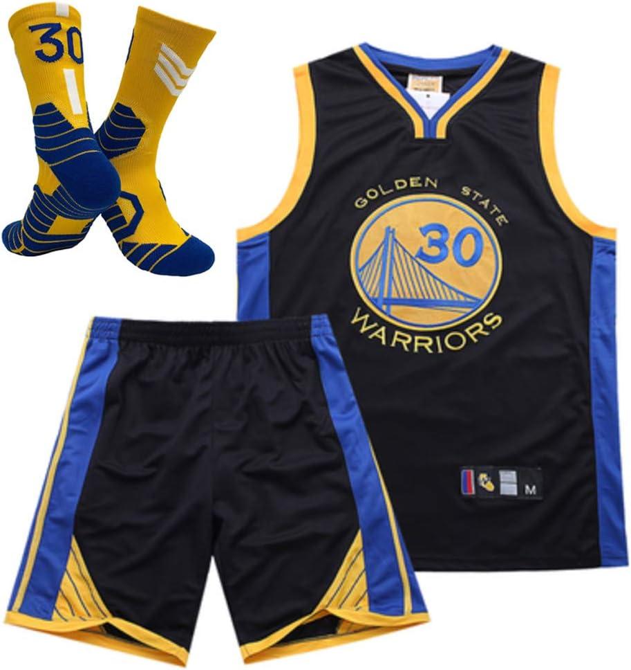 Short Chaussette) Golden State Warriors No.30 Stephen Curry Hommes Maillots De Basketball Ensemble Uniforme De Basketball Chemise Brod/ée D/ét/é Blue-XS (Gilet