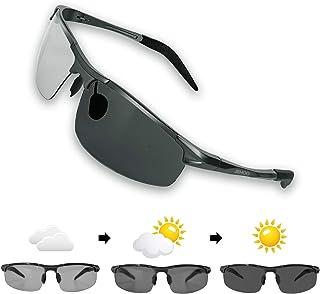 偏光サングラス JBHOO 調光レンズ 超軽量メタ UV400 紫外線カット 運転 野球 ドライブ 自転車 釣り ランニング ゴルフ 男女兼用 (昼夜兼用型もある)